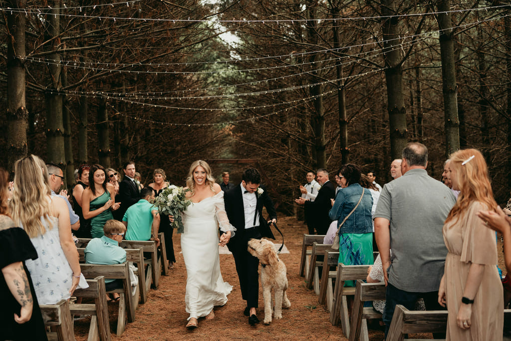 Outdoor wedding in the woods at Maidenwood Weddings and Events